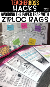 classroom organized ziploc teacher grade