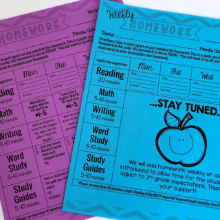 homework calendar weekly third grade